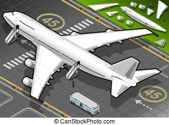 Isometric White Airplane Landed in Rear View