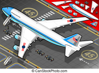 Isometric Air Force One in Rear View - Detailed illustration...