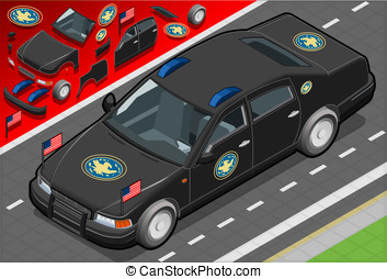 Isometric Presidential Limousine in Front View - Detailed...