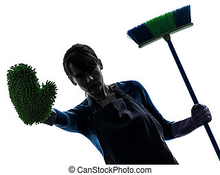 woman maid housework brooming stop gesture silhouette - one...