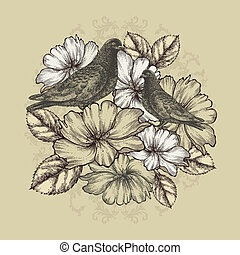 Two doves with blooming roses. Vector illustration.