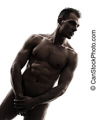 handsome naked muscular man standing portrait silhouette -...