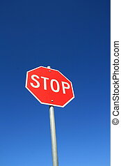 Stop Sign - Stop road sign over clear blue sky
