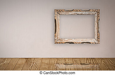 Picture frame over an old wall interior Clipping path...