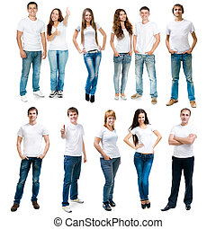 young people - Group of young people on a white board.