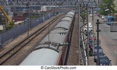 overlook train slowly passing,intercity traffic in china.