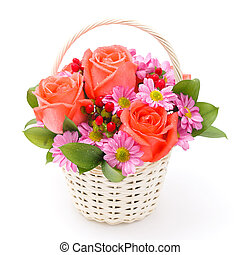flowers in basket on white background