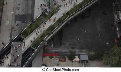 looking down onto the new highline park in new york
