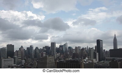 video of midtown manhattan skyline shot from a high vantage...