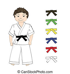 Boy karate and colored belts - Sport boy karate and colored...