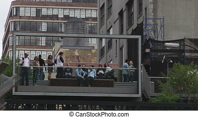 a shot of part of the new highline park, in new york
