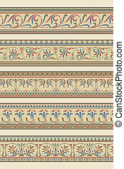Set of five decorative borders ornamental in editable vector...