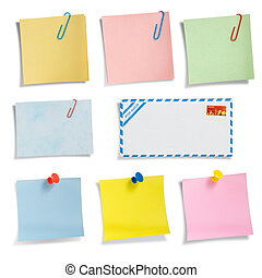 Stationery collection 02, note papers. Clipping path.