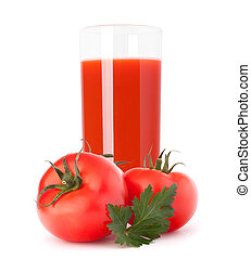 Tomato vegetable juice in glass isolated on white background...