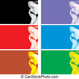 face of girl in different colors