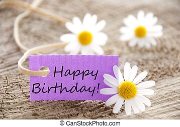 happy birthday! - happy birthday written on a purple banner,...