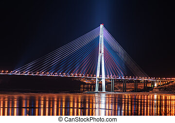 night view of the longest cable-stayed bridge in the world...