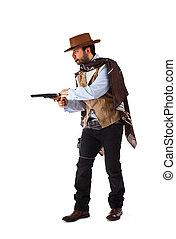 pistolero, viejo, salvaje, oeste, blanco, Plano de fondo