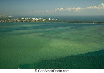 Atlantic ocean - Aerial view of the Atlantic ocean, Miami,...