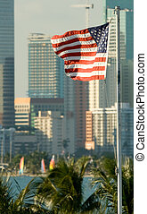 American Flag fluttering with city in the background, Miami,...