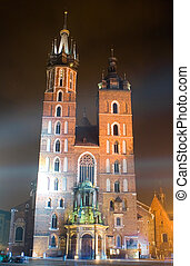 Saint Marys church in center of Krakow
