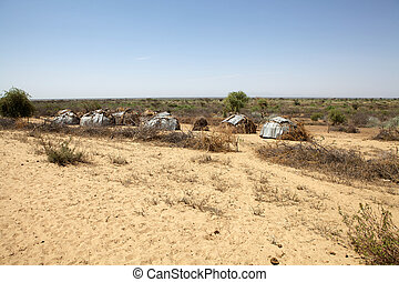 African village huts of the Dasanech or Galeb ethnic group...