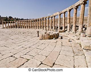 The Forum - floor background in Jerash, Jordan