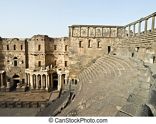 Bosra-Syria - Ancient Roman time town Bosra in Syria Theater...