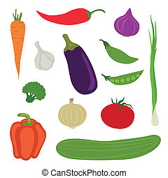 Vector Vegetables - Vector Illustration of Abstract...