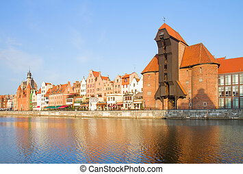 Zuraw and old embankment, Gdansk - Zuraw oldest crane and...
