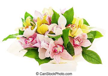 colorido, flor, ramo, Orquídeas, arreglo, centro de...
