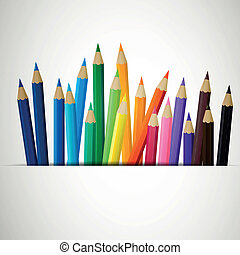 Vector Colored Pencils - Vector Illustration of Colored...