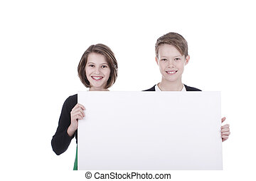 Children hold an empty board isolated on white