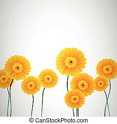Vector Background with Yellow Flowers - Vector Illustration...