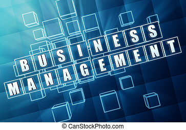 business management in blue glass cubes - business...