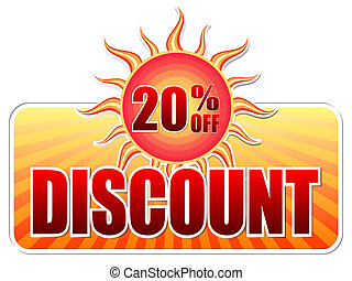summer discount and 20 percentages off in label with sun -...