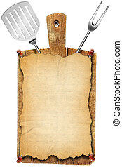 Menu Old Wood Cutting Board - Notebook for recipes or menu...