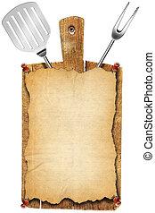 menú, corte, viejo, madera, tabla