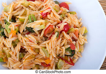vegetable orzo plate