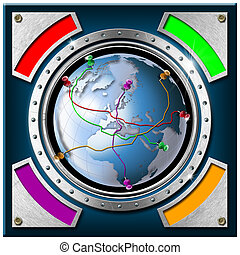 Gps World Background Concept - Metal and blue background...