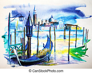 A view with boat in Venice, painted by watercolor