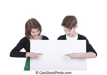 children point on an empty board isolated on white