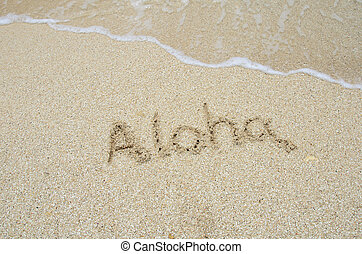 inscription aloha on the sand at the beach. - inscription...