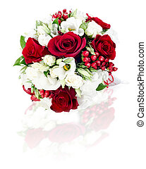 colorful flower wedding bouquet for bride isolated on white background