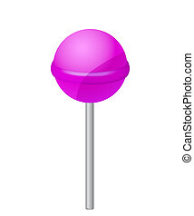 Delicious LollyPop, Isolated On White Background, Vector...