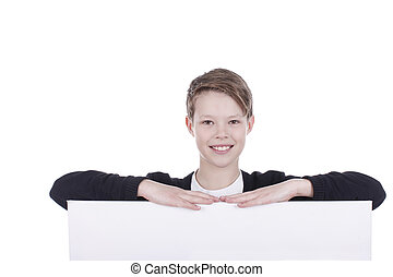 Boy lean across an empty board isolated on white