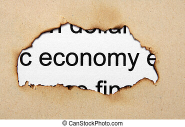 Economy text on paper hole