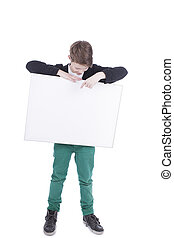 Boy holds an empty board isolated on white