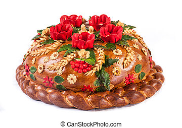Ukrainian festive bakery Holiday Bread on white - Ukrainian...