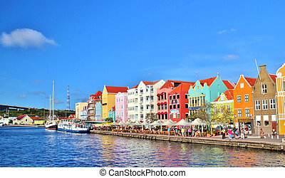 Curacao architecture - Colorful architecture on the...